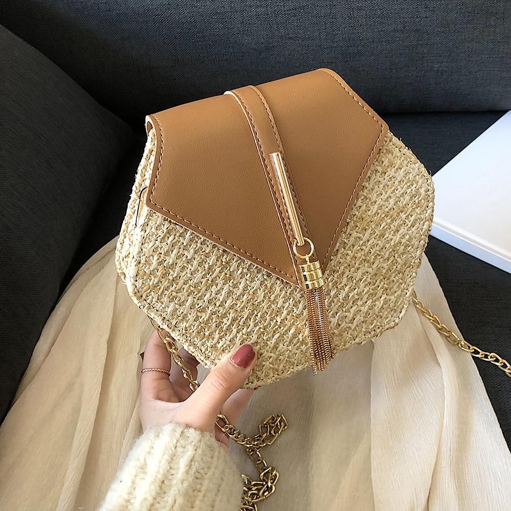 Hot Hexagon New Mulit Style Straw+PU Chain Messenger Bags Women Summer Rattan Handmade Woven Beach Boho Bags bolso feminina|Top-Handle Bags| - AliExpress