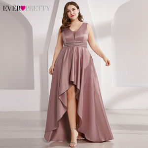 Plus Size Satin Prom Dresses Ever Pretty EP00877 Double V-Neck Sequined Sleeveless Asymmetrical Sexy Party Gowns Vestidos Largos