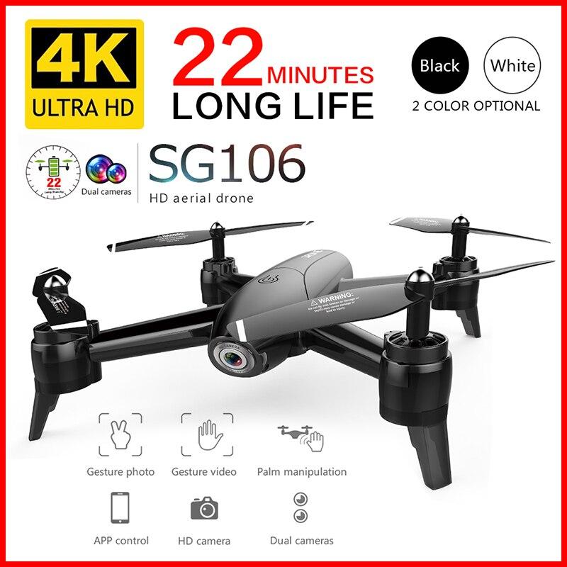 Радиоуправляемый Дрон SG106 HD с двойной камерой 1080P /4K, Wi-Fi, FPV, видео в режиме реального времени, широкоугольный оптический поток, игрушки для ве...