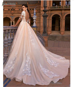 Image 2 - Sleeves champagne color wedding dress bridal gown