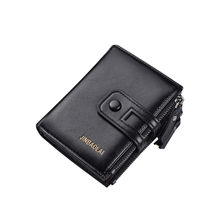 New Korean casual men's wallet Short vertical locomotive British casual multi-function card bag zipper buckle triangle folding 8(China)