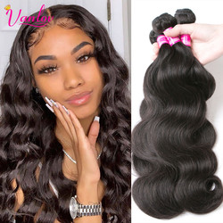 "Vanlov Brazilian Body Wave Hair Bundles Natural Black&Jet Black Human Hair Weave Bundles 1/3/4 Piece 8-30"" Remy Hair Extensions"