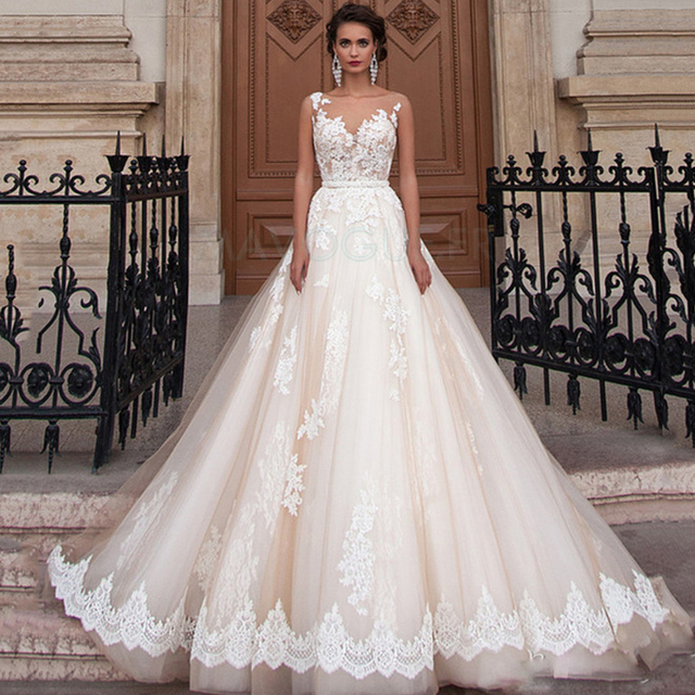 Scoop Illusion Wedding Dresses Long Lace Applique Beading Waist Sweep Train Bridal Gown Dress with Detachable Beading Sash 1