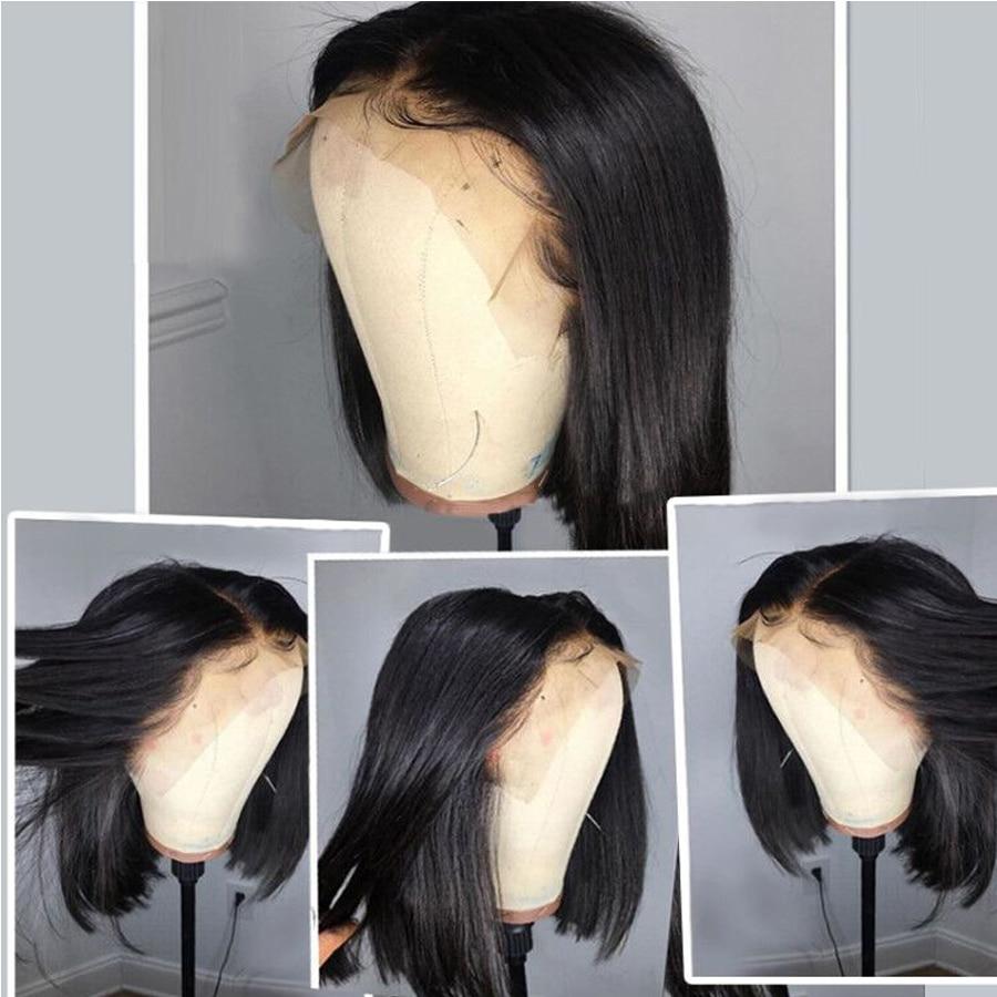 Iwish 13x4 sans colle couleur Bob dentelle avant perruques de cheveux humains pour les femmes 150% Remy brésilien droite dentelle avant perruque pré plumé - 2