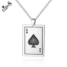 CGCMNS Lucky Ace Of Spades Mens Necklace Silver Color Tone Poker Pendant for Male Stainless Steel Casino Fortune Playing Cards лонгслив printio ace of spades