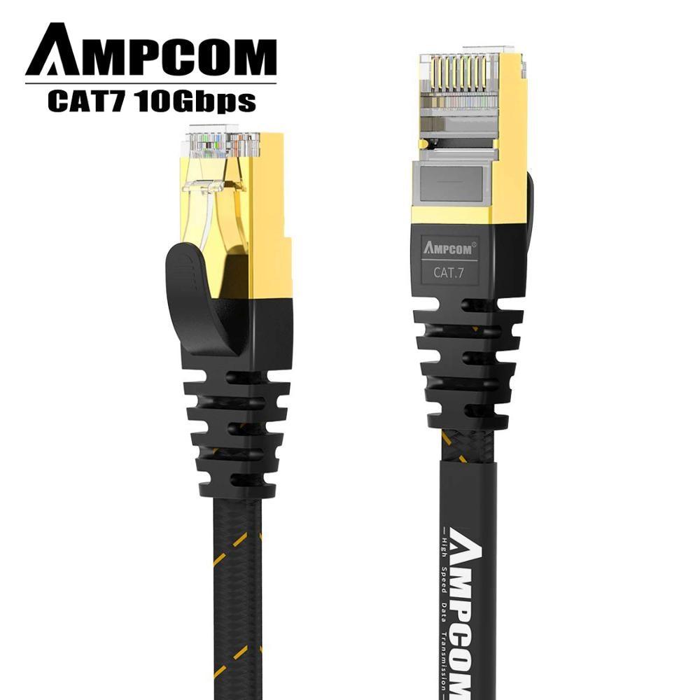 AMPCOM Network Cable RJ45 Cat7 Lan Cable STP RJ 45 Flat Ethernet Cable Patch Cord For Desktop Computers Laptop Modem Router