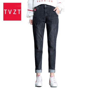 TVZT 2020 summer new High Waist Vintage Haren Jeans Nine Part Pants Mid  Waist Straight Pants LadiesLoose Womens Jeans Pants mid calf flower print straight womens pants