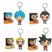 Keychain Q Version Doll Key Chain Holder Goku Vegeta Super Saiyan Goku Key Protector Gift for Fans