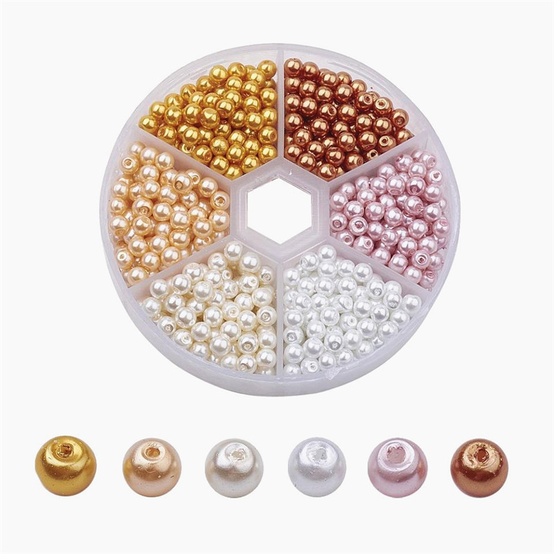 4mm Round Glass Pearl Bead Sets Loose Spacer Beads Mixed Color Pearlized for Jewelry Making DIY Bracelet Craft about 810pcs/box