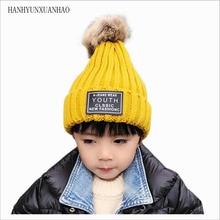 HANGYUNXUANHAO 2019 Fashion Children Winter Fur Pompom Hats Baby Knitted Warm Hat For Kids Girls Boys Pom pom Beanie Cap