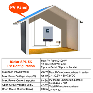 Image 5 - 5KVA 태양 하이브리드 인버터 순수 사인파 220VAC 출력 60A AC 충전기와 내장 PWM 48V 50A 태양 광 충전 컨트롤러