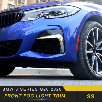 For BMW 3 Series G20 2020 Car Styling Front Fog Light Lamp Decoration Cover Trim Frame Sticker Exterior Accessories