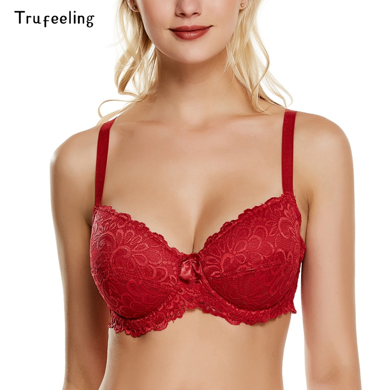 Trufeeling <font><b>Sexy</b></font> <font><b>Womens</b></font> <font><b>Bra</b></font> <font><b>Full</b></font> <font><b>Cup</b></font> Support Lingerie Cotton-padded <font><b>Plus</b></font> <font><b>Size</b></font> Bralette Floral <font><b>Lace</b></font> Embroidered Bh Underwear image