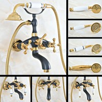 Black Gold Bronze Tub Shower Faucet Set Bathroom Wall Mount Clawfoot Tub Faucet W/Hand shower
