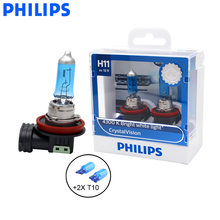 Philips H11 12V 55W Crystal Vision 4300K Bright White Light Halogen Lamps Car Headlight Stylish Look 12362CVSM, Pair + 2x T10(China)