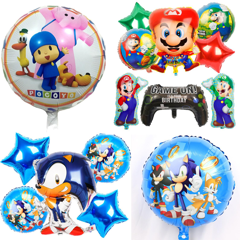 Cartoon Figure Pocoyo Elly The Elephant Sonic The Hedgehog Mario Game Figure Birthday Decoration Balloons Kids Toys Action Toy Figures Aliexpress