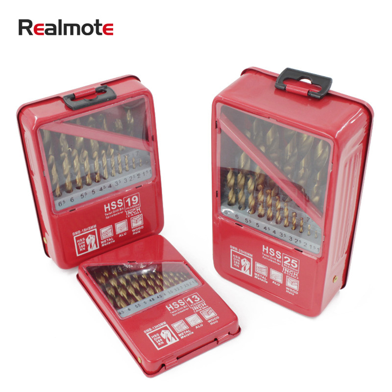 Realmote 13/19/25PCS 1.0~13mm HSS Titanium Coated Drill Bit Set For Woodworking Metal Drilling Power Tools Accessories Iron Box