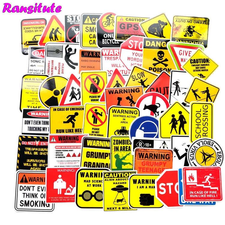 50pcs/set Warning Words Graffiti Stickers Children DIY Skateboard Luggage Mobile Phone Bicycle Waterproof Stickers R486