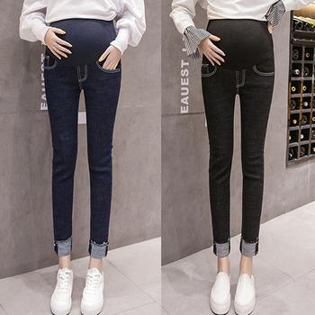 Skinny Stretch Curling spodnie jeansy ciążowe dla kobiet w ciąży ubrania Denim brzucha dżinsy ciążowe spodnie ciążowe spodnie odzież w ciąży tanie i dobre opinie COTTON Poliester spandex WOMEN Natural color light Macierzyństwo Elastyczny pas
