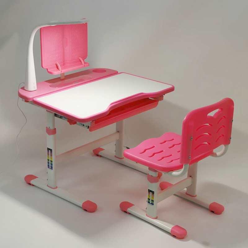 Ergonomic Childrens Desk and Chair Set Adjustable Children Study Desk Set + Reading Stand + Eye Protection Lamp Study Desk Set