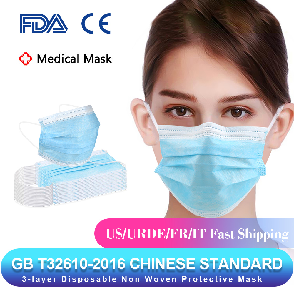 50pcs Anti-Bacteria Medical Masks 3 Layer Filter Disposable Masks Non-woven Mouth Nose Earhook Face Masks