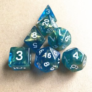 7pc/lot Dice Set D4 D6 D8 D10 D10% D12 D20 Bule Color Polyhedral dice for Board Game For TRPG Games