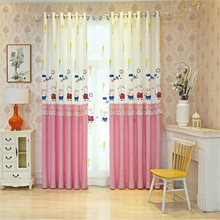 Blue Pink Cartoon Children Curtains For Living Room Kids Blackout Customized Finished Sheer Curtains For Baby Girls Bedroom