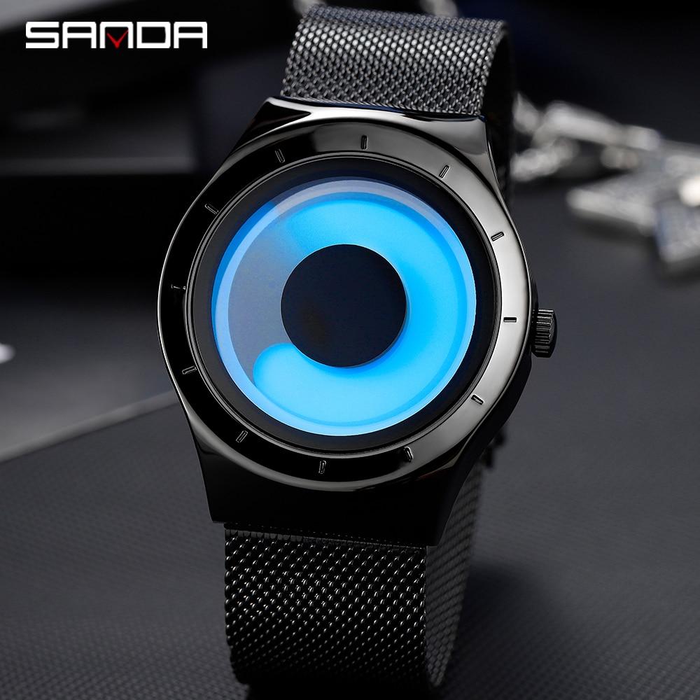 SANDA New Fashion Waterproof Men Watch Trend Personality Swirl Contrast Color Gradient Dial Ther Steel Belt Men's Quartz Watch