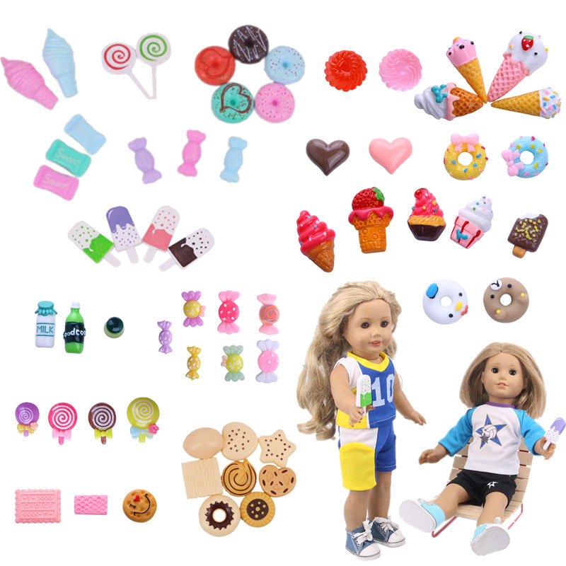 Doll Food Ice Cream Popsicle Candy Donut Dessert  Series  Fitable 18-inch American Doll And 43cm Doll Generation Children's Gift