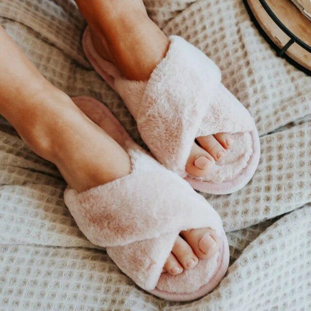 Inverno feminino casa chinelos quente da pele do falso sapatos de moda mulher deslizamento em apartamentos designer senhoras chinelos peludos feminino slides interior 3