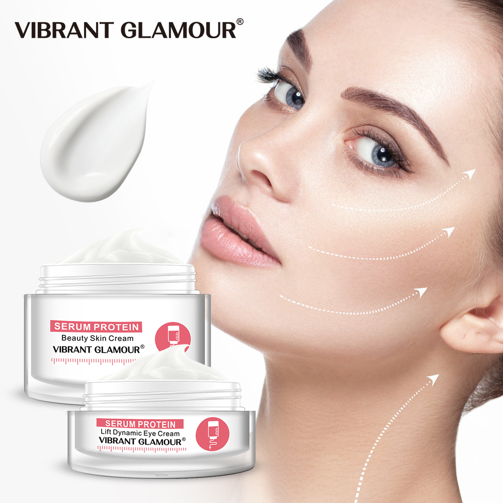VIBRANT GLAMOUR Serum Protein Face Cream Eye Cream Skin Care Set Anti-Wrinkle Remover Dark Circle Against Puffiness Anti-allergy