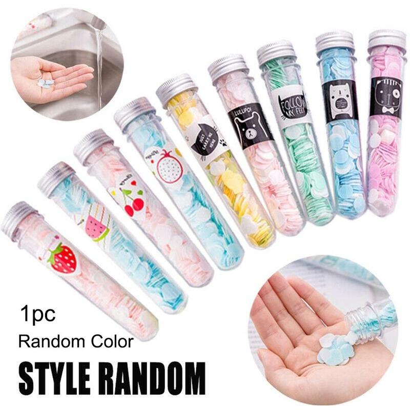 Portable Outdoor Hand Soap Paper Soap Flakes Travel Bottle Hand Soap Paper Tube Cartoon Flower Type Disposable Soap Flakes