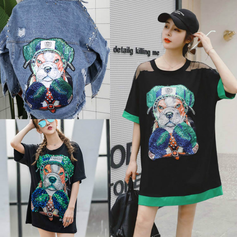 Oversized Sequin Embroidery Patch Sequins Clothes Patch Applique Clothing Accessories Tiger Head Cat Dog Eagle Stickers