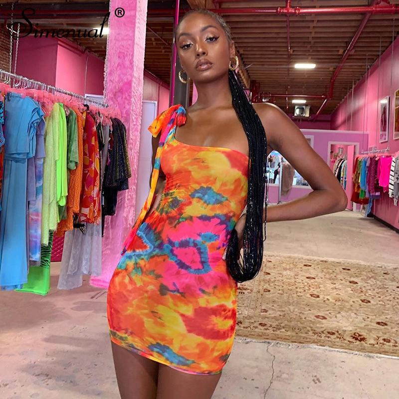Simenual Sexy Hot Tie Dye Women Bodycon Dress One Shoulder Bandage Fashion Party Mini Dresses Sleeveless 2019 Skinny Print Dress