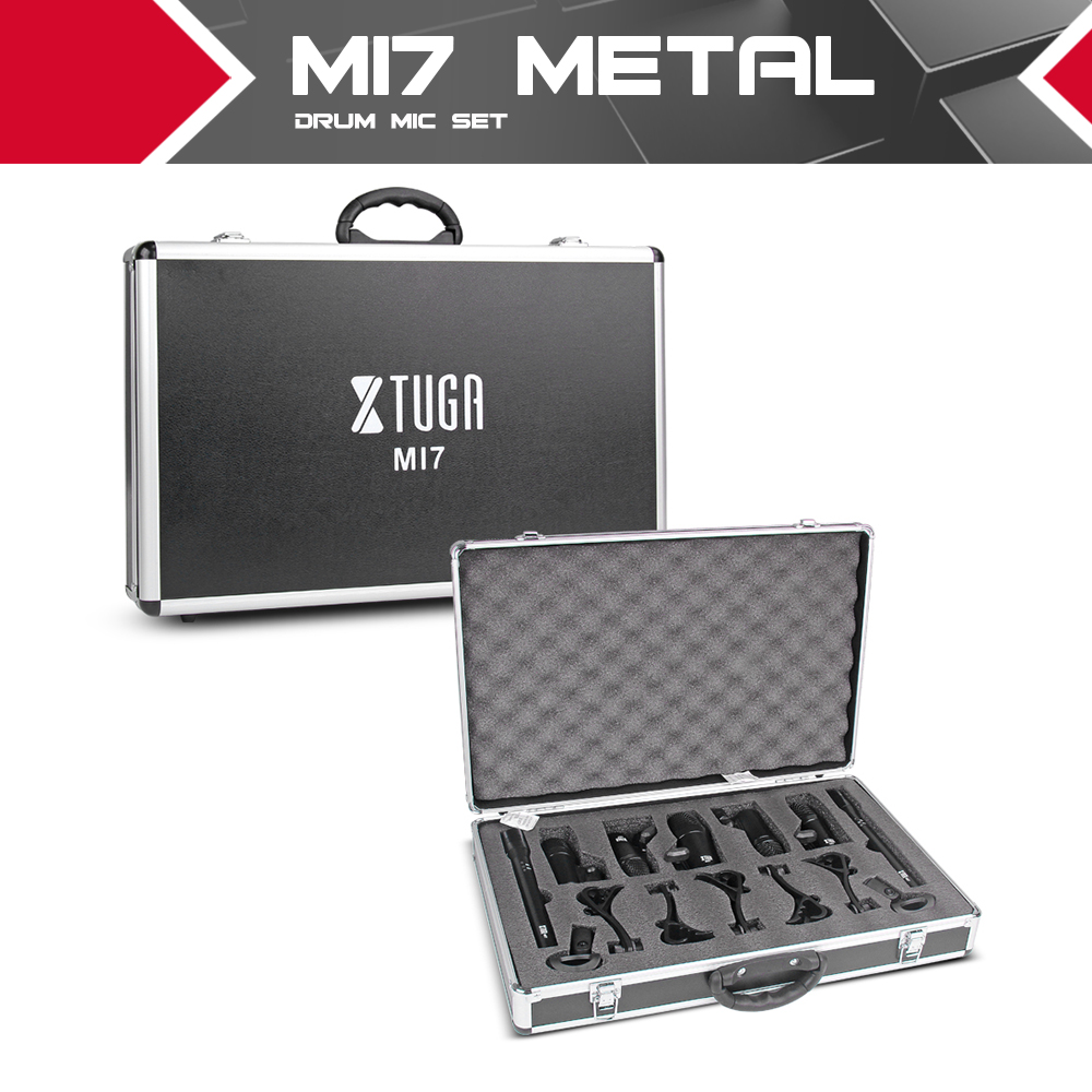XTUGA MI7 7-Piece Wired Dynamic Drum Mic Kit (Whole Metal)- Kick Bass, Tom/Snare & Cymbals Microphone Set - Use For Drums, Vocal