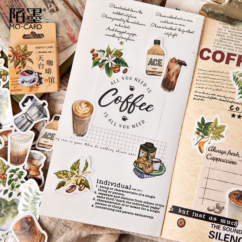 45pcs/pack Vintage Rooftop Coffee Shop Stickers Set Scrapbooking Stickers For Journal Planner Diy Crafts Scrapbooking Diary 3
