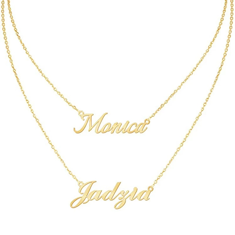 New Necklaces Layered Choker Necklace Women Stainless Steel Chain Custom Nameplate Pendant Birthday Gifts