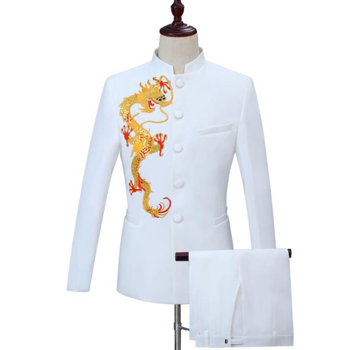 Embroidery Blazer Men Chinese Tunic Suit Set With Pants Mens Wedding Suits Costume Singer Star Style Stage Clothing Formal Dress