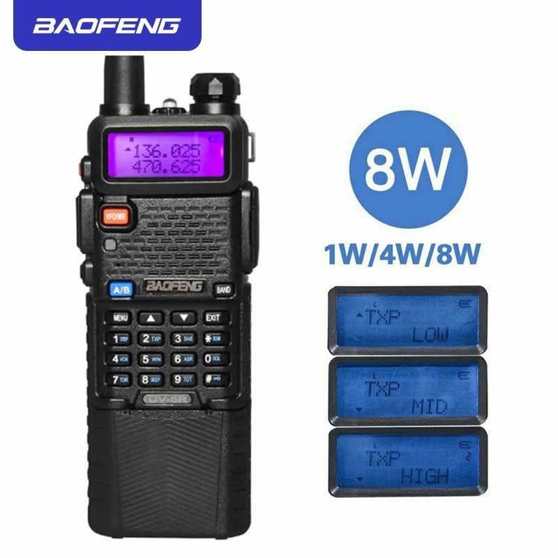 ترقية 8 واط BaoFeng UV-5R لاسلكي تخاطب VHF/UHF مفيد ثنائي النطاق CB اتجاهين جهاز الإرسال والاستقبال اللاسلكي 3800 مللي أمبير بطارية ليثيوم ثيوم