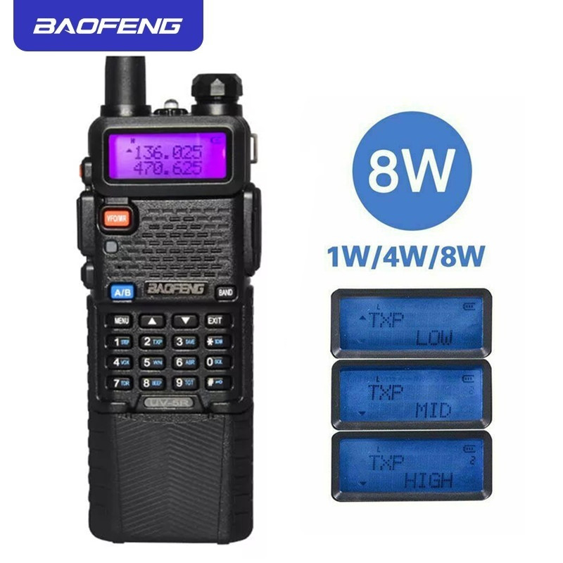 Upgrade 8W BaoFeng UV-5R Walkie Talkie VHF/UHF Handy Dual Band CB Two Way Radio Transceiver 3800mah Li-thium Battery