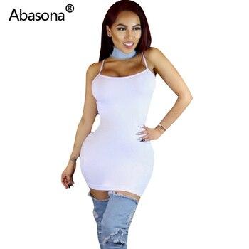 Abasona Sexy Black Bodycon Mini Dress Spaghetti Strap Stretch Summer Women 2020 Night Tight Dresses Party Ladies Casual Vestidos 6