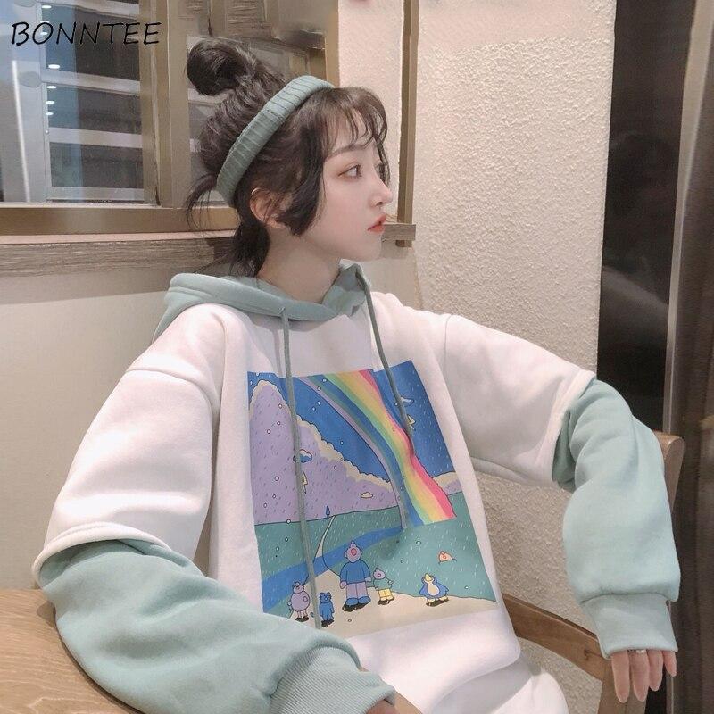 Hoodies Women Printed Patchwork Hoody Simple Thicker All-match Loose Simple Korean Style BF Drawstring Womens Streetwear Hoodie
