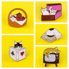 Leisurely Cute Cats Badges for Clothes Animal Enamel Pins for Backpacks Clothes Lapel Pin Badges for Backpack Badge Jewelry Gift leisurely cute cats badges for clothes animal enamel pins for backpacks clothes lapel pin badges for backpack badge jewelry gift