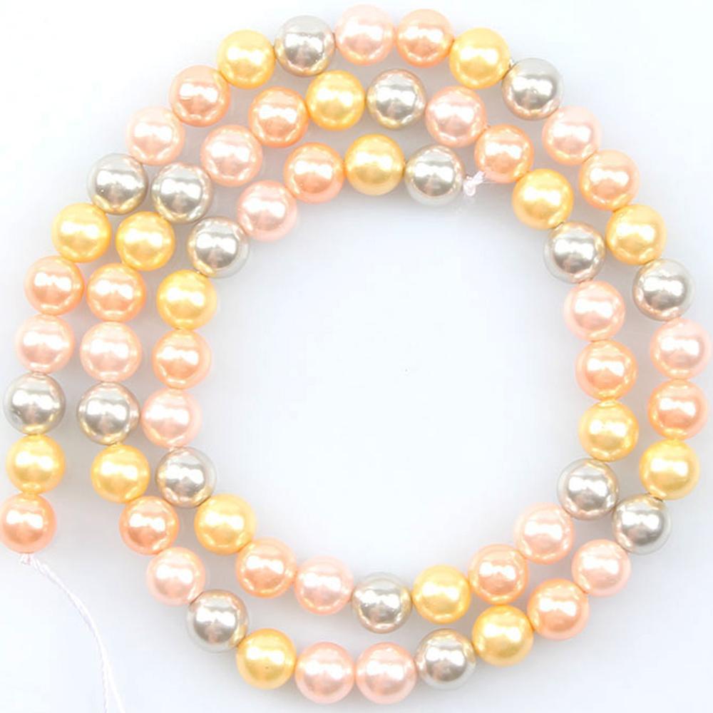 Perles naturelles rondes en coquillage d'océan, rose jaune, pour la fabrication de bijoux, 15 pouces 6/8/10/12mm