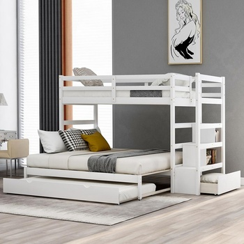 Solid Wood Bunk Bed for Kids Hardwood Twin Over Twin Bunk Bed with Trundle and Staircase solid wood children beds with guardrail small infant bedside single widening and splicing kids bed