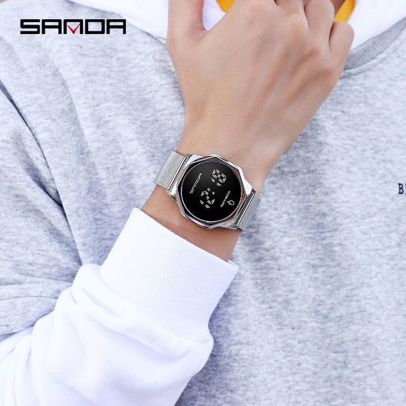 Montre-Bracelet numérique pour hommes, marque supérieure SANDA LED, mode, horloge, écran tactile, montre pour hommes 6