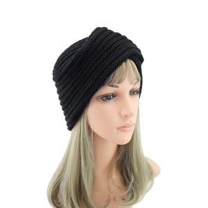 Image 4 - הודו צלב סרוג טורבן כובע נשים של סתיו כובע חורף כובע לנשים קשמיר בימס כובעי עבור בנות כובעים מוסלמיים czapka zimowa