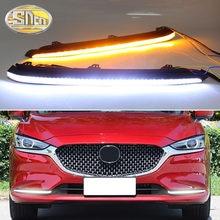 2PCS LED Tagfahrlicht Licht Dynamische Blinker Wasserdicht 12V Auto DRL Nebel Lampe Dekoration Für Mazda 6 2020 2021 Atenza