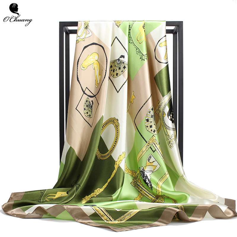 Satin Silk Scarf Women Luxury Brand Fashion Foulard Soft Satin Shawl Big Size 90*90cm Square Hair / Head Scarves Bandana