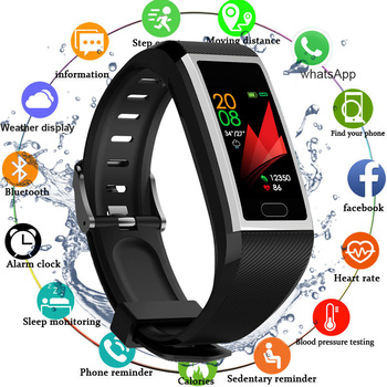 Inteligentna opaska na rękę bransoletka fitness wodoodporny zegarek z trackerem fitness wyświetlacz ciśnienia krwi inteligentny zegarek bransoletka kobiety mężczyźni tanie i dobre opinie chycet Kolorowy WYŚWIETLACZ LCD Wszystko kompatybilny Krzemionkowy Passometer Fitness Tracker Sleep Tracker Message Reminder